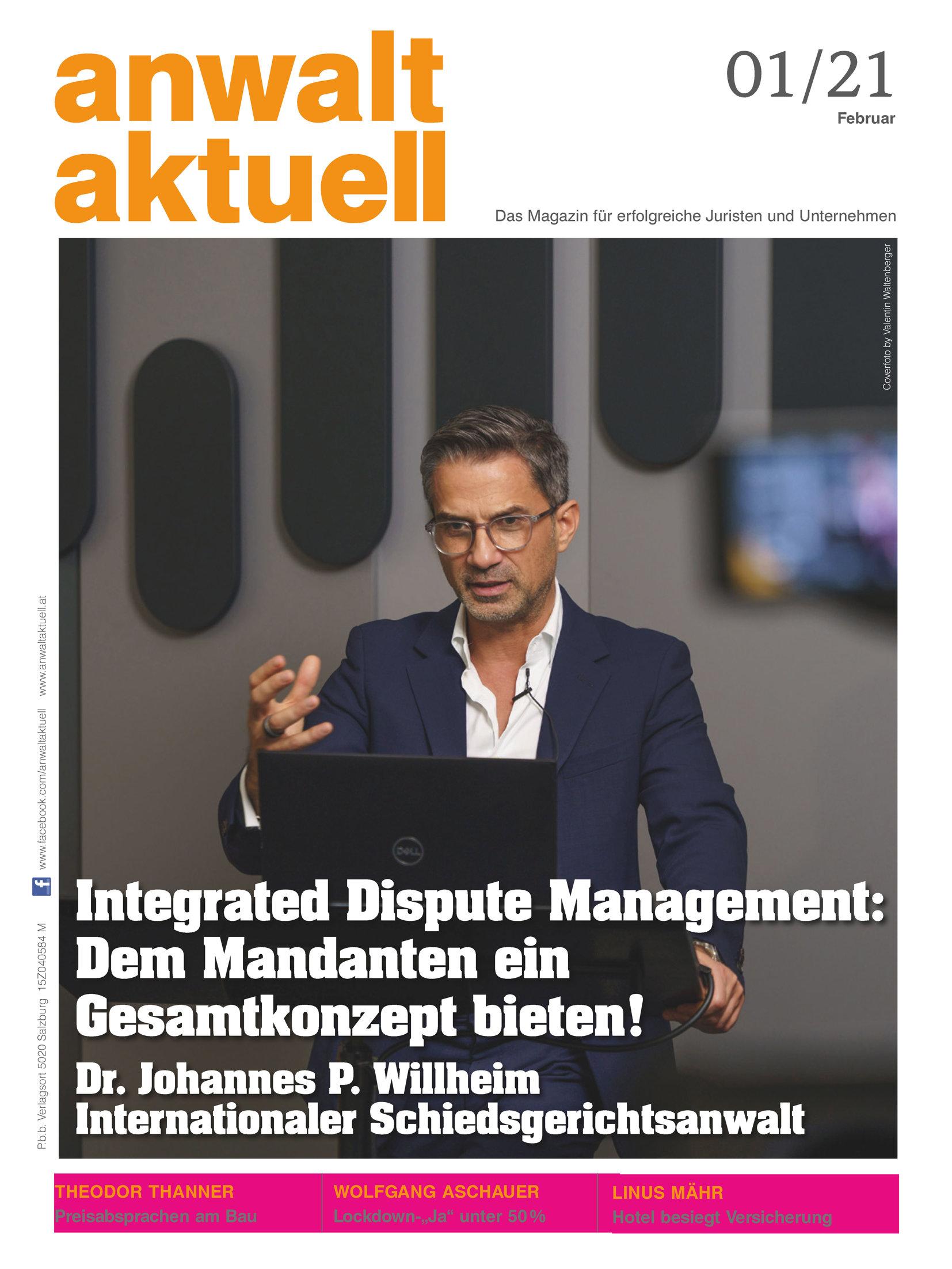 "Cover Story ""Anwalt Aktuell"" 01/21"